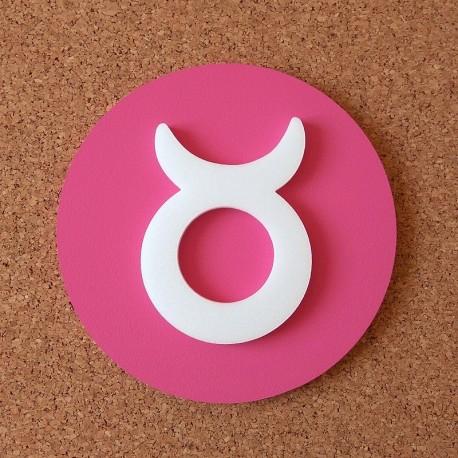Falra ragasztható dekoratív Bika csillagjegy, rózsaszín alapszínnel!