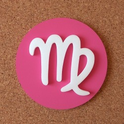 Falra ragasztható dekoratív Szűz csillagjegy, rózsaszín alapszínnel!